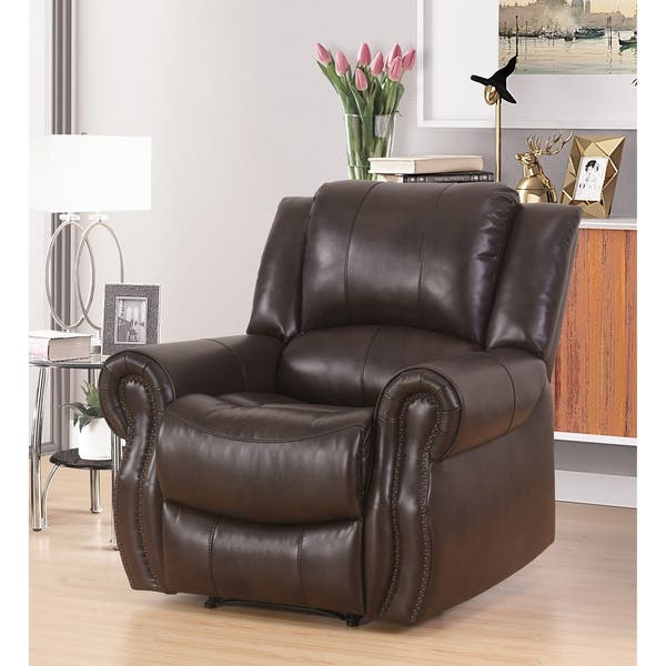 Wondrous Shop Abbyson Bradford Brown Faux Leather Reclining Armchair Machost Co Dining Chair Design Ideas Machostcouk