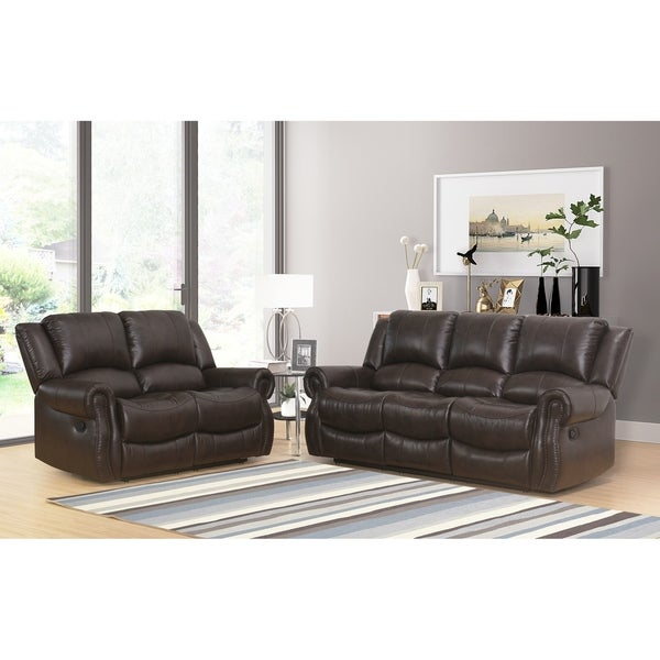 Shop Abbyson Bradford Brown Faux Leather Reclining 2 Piece Living Room Set Free Shipping Today
