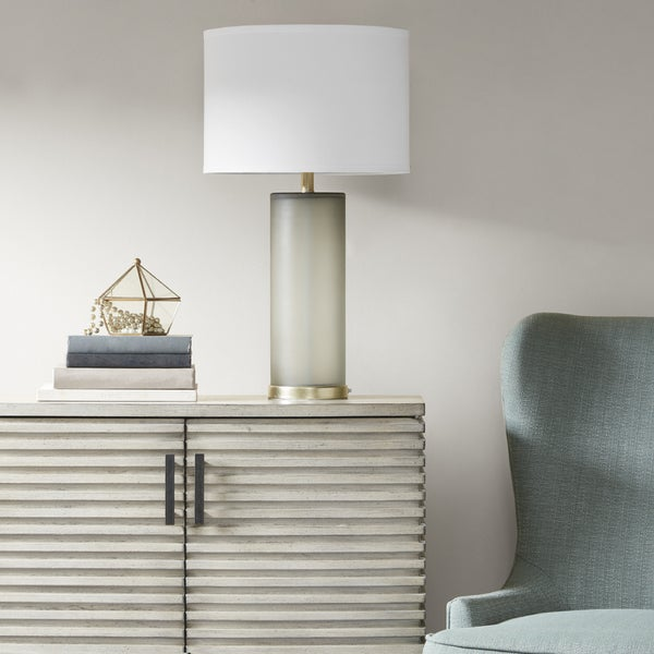 Madison Park Aria Grey Table Lamp with White Drum Shade