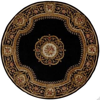 Momeni Harmony Havana Black/Blue/Burgundy Wool Floral Round Area Rug (5' x 5')