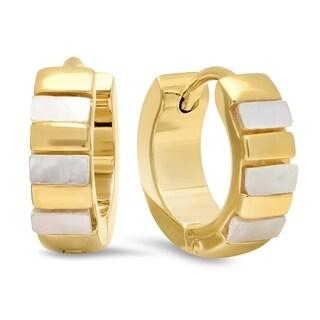 Piatella Ladies Gold Tone Stainless Steel Mother of Pearl Leverback Earrings