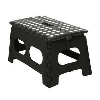 "Extra Wide 9"" Folding Step-Stool- Striped Top 16""wide"