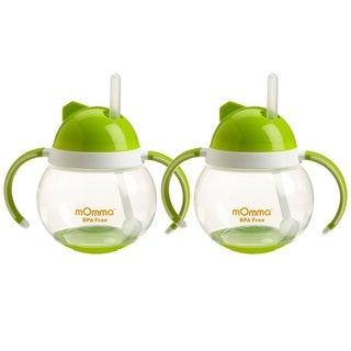 Lansinoh mOmma Straw Cup with Dual Handles - Green - 2 Count