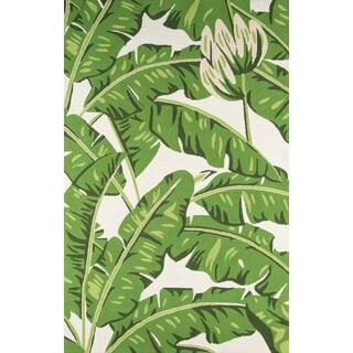 Momeni Veranda Circles Green/White Indoor/Outdoor Botanical Area Rug (8' x 10')