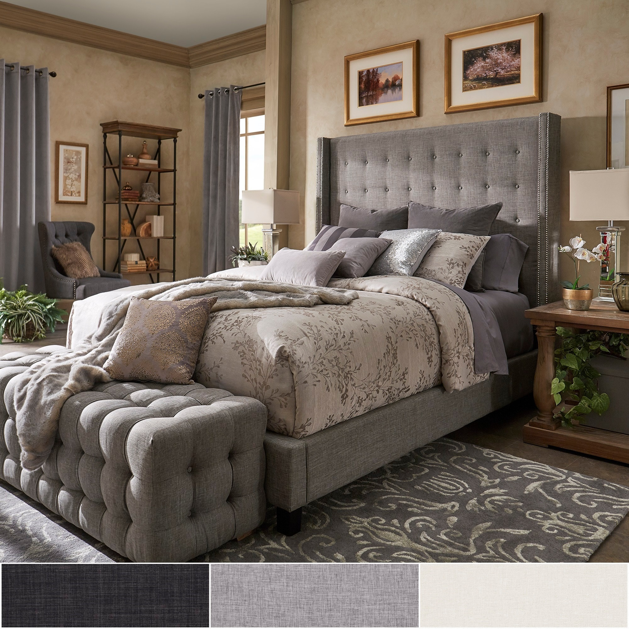 Picture of: Shop Black Friday Deals On Marion Nailhead Wingback Tufted Tall Headboard Platform Bed By Inspire Q Bold Overstock 19511257