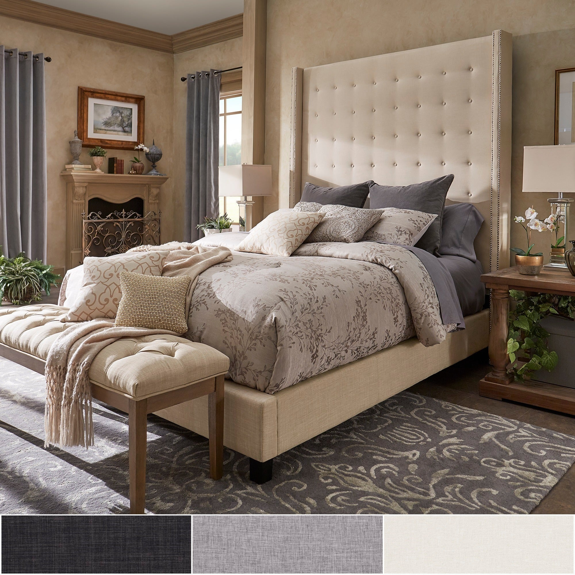 """New Design Dews Buttoned Studded Bed Headboard in Soft Plush Fabric 30/"""" Height"""