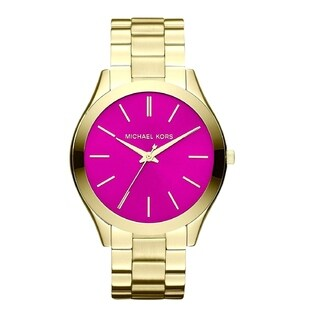 Michael Kors Women's Slim Runway MK3264 Gold Stainless-Steel Quartz Watch with Pink Dial