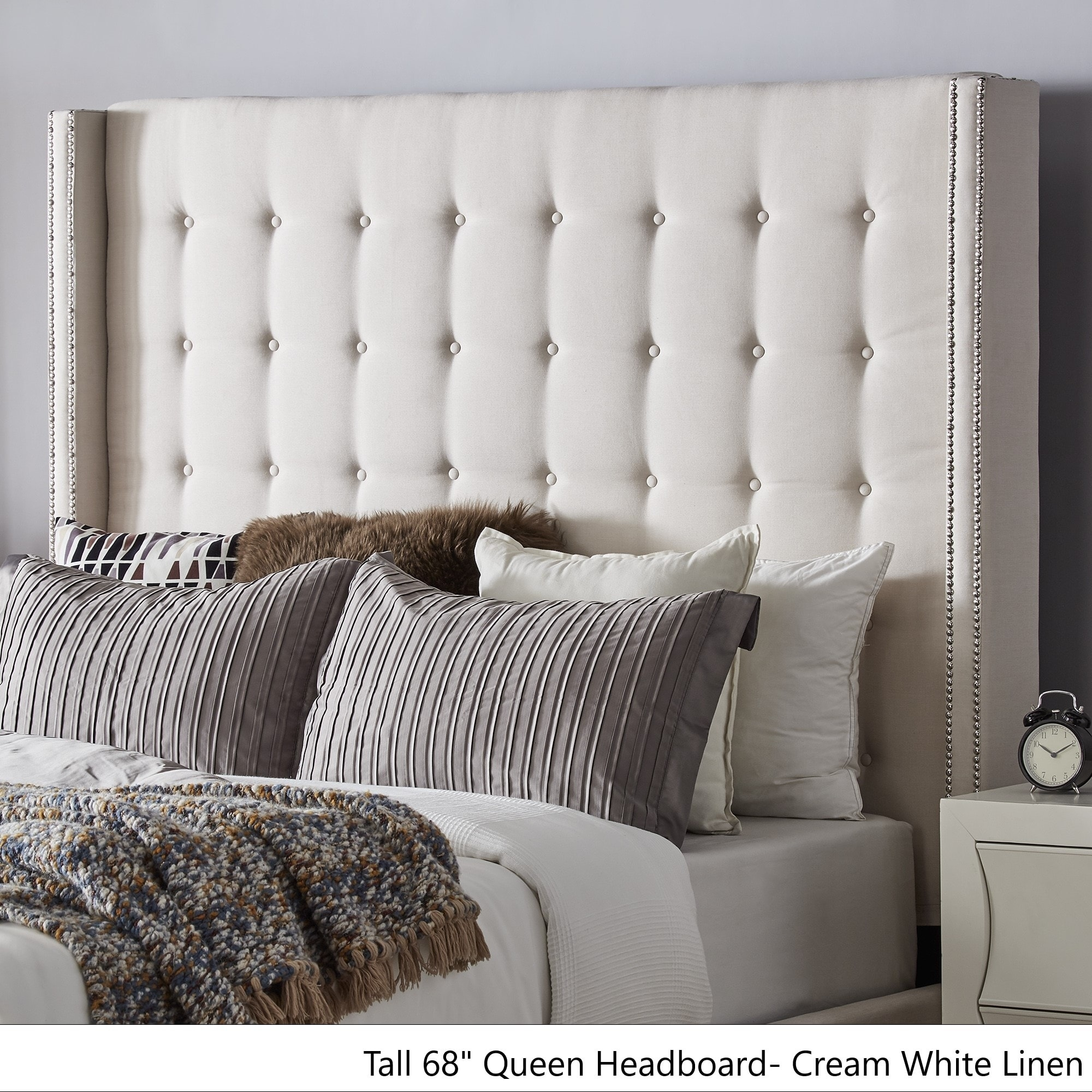 Marion Nailhead Wingback Tufted Tall Headboards By Inspire Q Bold Overstock 19511384