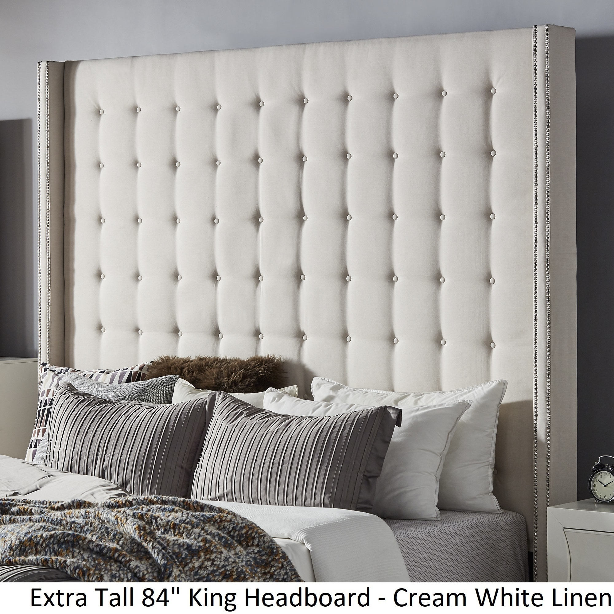 Picture of: Shop Black Friday Deals On Marion Nailhead Wingback Tufted Tall Headboards By Inspire Q Bold Overstock 19511384