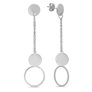 Piatella Ladies Stainless Steel Round Button Drop Earrings in 3 Colors