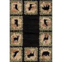 "Westfield Home Hollyhock Huntsman Border Black Area Rug - 7'10"" x 10'6"""