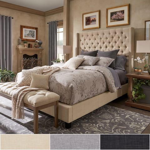 Naples Wingback Button Tufted Tall Headboard Platform Bed by iNSPIRE Q Artisan