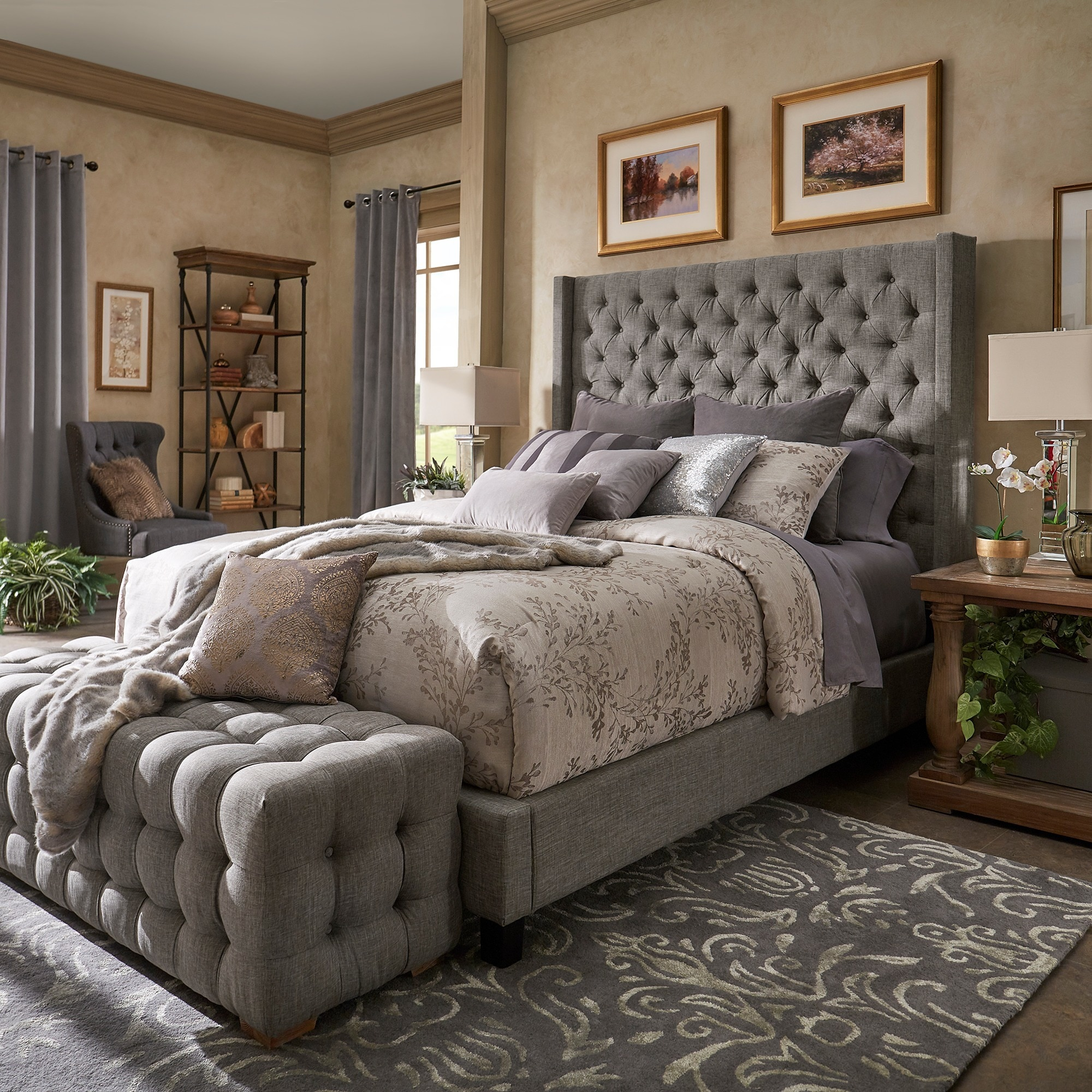 Shop Naples Wingback Button Tufted Tall Headboard Platform Bed By