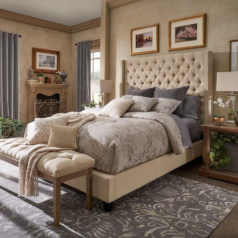 Naples Wingback Button Tufted Tall Headboard Bed by iNSPIRE Q Artisan