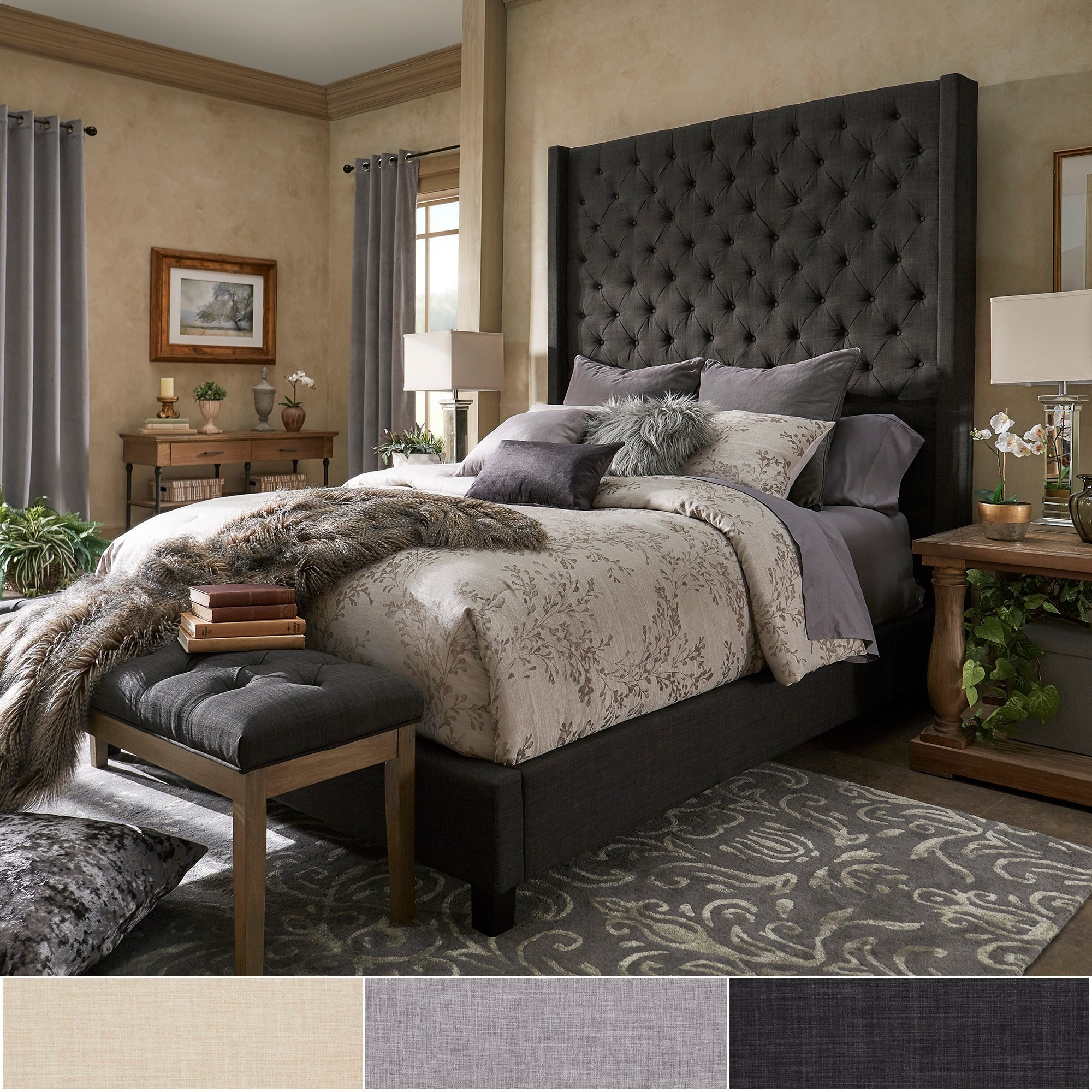 Naples Wingback Button Tufted 84 Inch High Headboard Platform Bed By Inspire Q Artisan On Sale Overstock 19511682 Beige Linen Queen