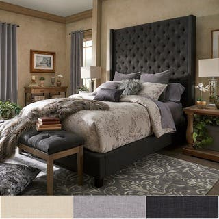 naples wingback button tufted 84 inch high headboard platform bed by inspire q artisan - Black Tufted Bed