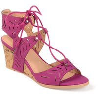 Journee Collection Women's 'Minny' Laser-cut Ghillie Wedges