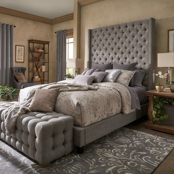 Naples Wingback Button Tufted 84-Inch High Headboard Bed by iNSPIRE Q Artisan