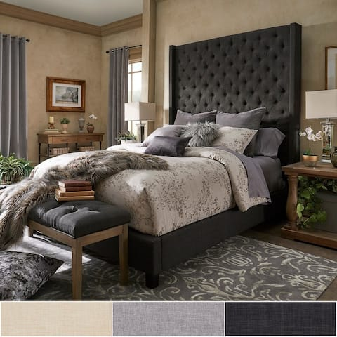 Naples Wingback Button Tufted High Headboard Bed by iNSPIRE Q Artisan