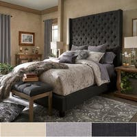 Naples Wingback Button Tufted 84-Inch High Headboard Bed by iNSPIRE Q Artisan - 8' x 10'