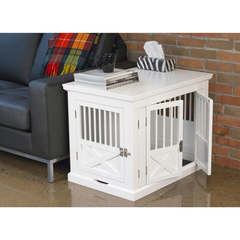 Merry Products White Triple Door Dog Crate and End Table