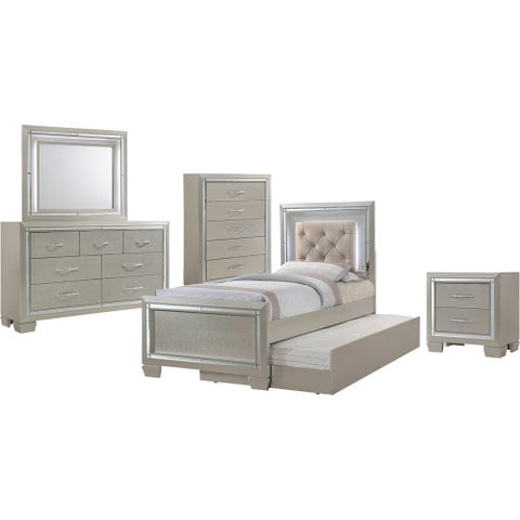 Cambridge Elegance 5-Piece Twin-Size Bedroom Suite: Twin Bed with Slide-Out Trundle, Dresser, Mirror, Chest, and Nightstand