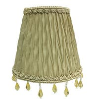 "Royal Designs Chandelier Lamp Shade - 3"" x 5"" x 4.5"" - Ruche Pleated Empire - Antique Gold - Clip-On"