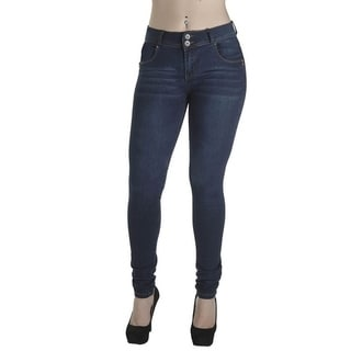 Women's Enhanced Butt Lifting Skinny Jeans Dark Blue