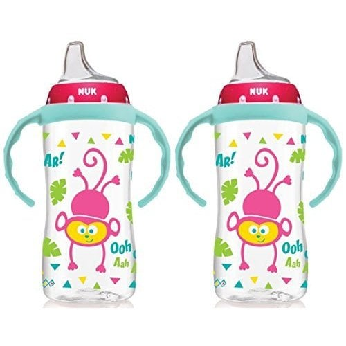 2 Pack Girl NUK 10 Ounce Jungle Large Learner Cup With Handles
