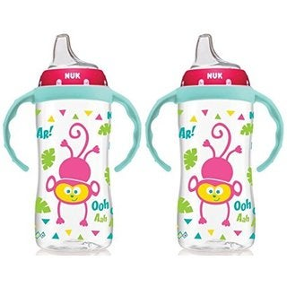NUK 10 Ounce Jungle Large Learner Cup With Handles - 2 Pack - Girl