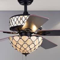 Tohva 6-Light Ivory Tiffany 5-Blade 52-Inch Matte Black Ceiling Fan