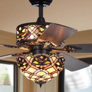 Kalsti 6 Light Lily Tiffany 5 Blade 52 Inch Matte Black Ceiling Fan