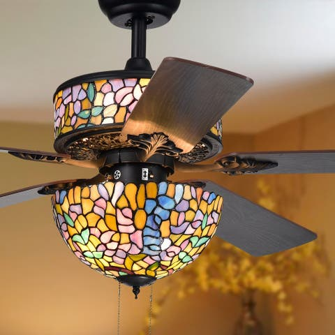 Hayfield 5-Blade Tiffany Lamp 52-Inch Ceiling Fan