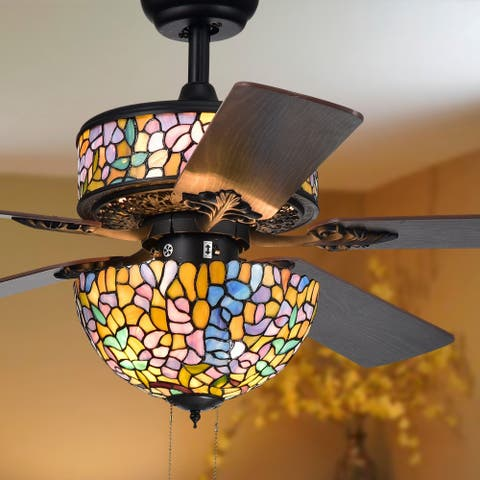 Buy ceiling fans clearance liquidation online at overstock hayfield 5 blade tiffany lamp 52 inch ceiling fan aloadofball Gallery