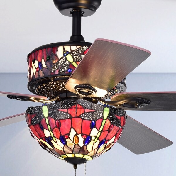 Jalev 6 Light Dragonfly Tiffany 5 Blade 52 Inch Matte Black Ceiling Fan