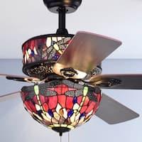 Jalev 6-Light Dragonfly Tiffany 5-Blade 52-Inch Matte Black Ceiling Fan