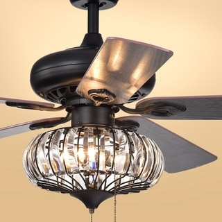 Chrysaor 3-light Crystal Matte Black Ceiling Fan (Optional Remote)