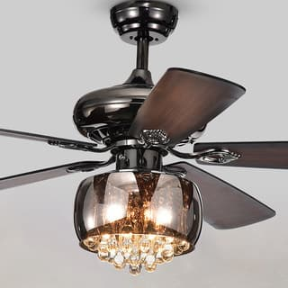 Ceiling fans for less overstock nettle 3 light shaded glass and crystal 5 blade 52 inch pear black aloadofball Images