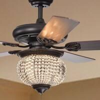 Priteen 3-Light Crystal Bead 5-Blade 52-Inch Brown Ceiling Fan