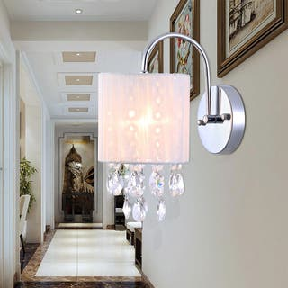 Bathroom Sconce Lighting. Winnona 1 light Wall Lamp 9 inch Chrome and Crystal Lights For Less  Overstock com