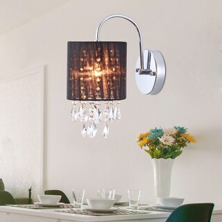 Andrea 1-light Wall Lamp Chrome 9-inch and Crystals