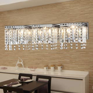 Clear shade wall lights for less overstock fatima 3 light chrome 26 inch crystal wall lamp aloadofball Image collections