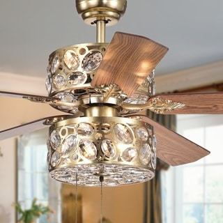 Thisavro 5-Blade Ceiling Fan 52-Inch Antique Silver and Crystal