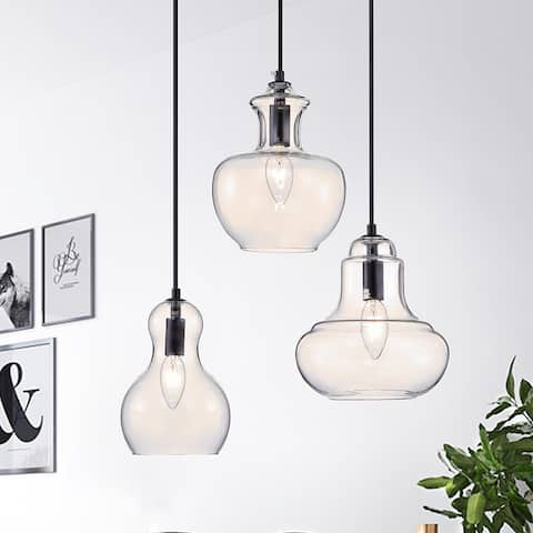 Beveen Round 3-Light Glass Gourde Lamp Collection