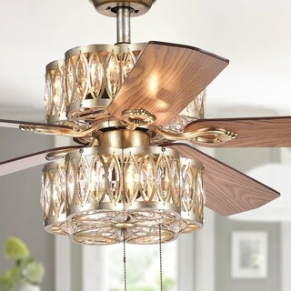 Gaspar Antiqued Silver 52-Inch 5-Blade Ceiling Fan with 2-Tier Lighting