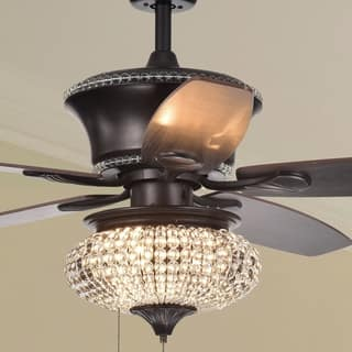 Bedroom Ceiling Fans With Lights. Vasilisa 52 Inch 5 Blade Ceiling Fan Crystal Shade Brown Finish Fans For Less  Overstock com