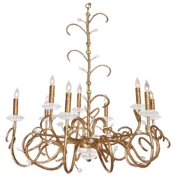 Van Teal Vail Gold-tone Metal/Acrylic Chandelier - Gold