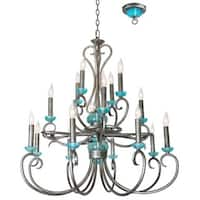 Van Teal Crown Silver Finish Blue Accent Chandelier