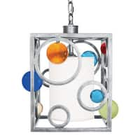 Van Teal Spinning Wheels Silver-tone/Multicolor Metal/Acrylic Pendant Light