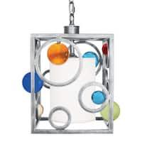 Van Teal Spinning Wheels Silver-tone/Multicolor Metal/Acrylic Pendant Light